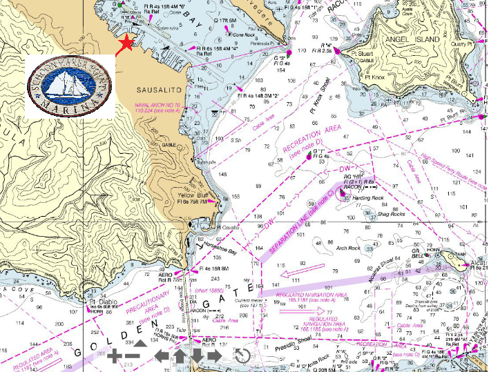 nautical map of san fransisco bay and location of yacht morrage marina for the amaericas cup